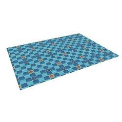 "Kess InHouse Jane Smith ""Vintage Checkerboard"" Blue Navy Outdoor Floor Mat/Rug, 4 by 5-Feet"