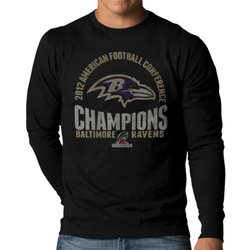 NFL Baltimore Ravens 2012 AFC Champs Long Sleeve Scrum Tee - Black - Large