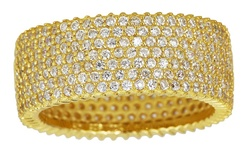 7-Row Pav Milgraine Eternity Band in Sterling Silver - Yellow - Size: 7