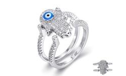 Sterling Silver Evil Eye Reversible Flip Ring - Hamsa - 9