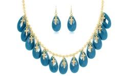 So Chik Jewels Women's 18K Gold Cross-Charm Necklace & Earring Set - LBlue