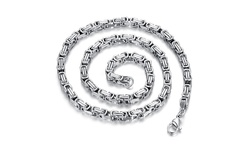 """Men's 24"""" Stainless Steel Square Byzantine Chain"""