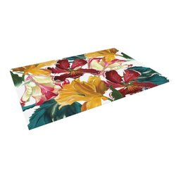 "Kess InHouse Lydia Martin ""Flower Power"" Floral Rainbow Outdoor Floor Mat/Rug, 5 by 7-Feet"