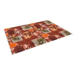 """Kess InHouse Jane Smith """"Vintage Kitchen"""" Brown Orange Outdoor Floor Mat/Rug, 4 by 5-Feet"""