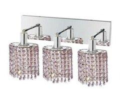 Elegant Lighting 1283W-O-E-RO/RC Mini 8-Inch High 3-Light Wall Sconce, Chrome Finish with Rosaline (Pink) Royal Cut RC Crystal