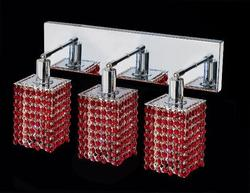 "Mini 8"" High 3-Light Chrome Finish Wall Sconce - Bordeaux Red"
