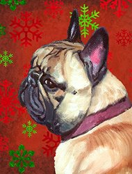 Caroline's Treasures LH9580CHF French Bulldog Frenchie Red Snowflakes Holiday Christmas Canvas House Flag