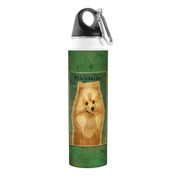 Tree-Free Greetings VB48025 John W. Golden Artful Traveler Stainless Steel Water Bottle, 18-Ounce, Pomeranian