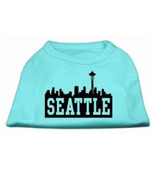 Seattle Skyline Screen Print Pet Shirt - Aqua - Size: XL