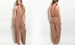 Junior's Jumpsuit With Plunging Keyhole Cutout And Belt: Mocha - Size: M