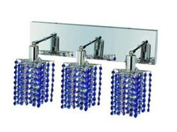 Elegant Lighting 1283W-O-P-SA/RC Mini 8-Inch High 3-Light Wall Sconce, Chrome Finish with Sapphire (Blue) Royal Cut RC Crystal