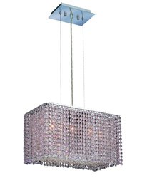 Elegant Lighting 1291D18C-RO/RC Moda 11-Inch High 3-Light Chandelier, Chrome Finish with Rosaline (Pink) Royal Cut RC Crystal