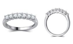 0.50 CTTW 7-Stone Diamond 10K White Gold Wedding Band - Rhodium -Sz: 7