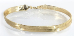 "18K Yellow Gold Plated Herringbone Anklet - 9"" Length"