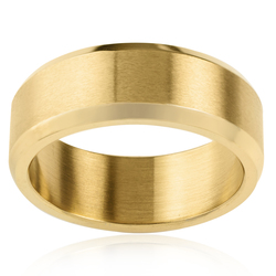 West Coast Men's Gold Plated Stainless Steel Satin Ring - Size: 10