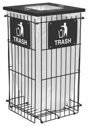 """Ex-Cell Kaiser RGU-1836 T BLK Clean Grid Square Steel Outdoor Fully Collapsible Trash Receptacle, 45 Gallon Capacity, 20"""" Length x 20"""" Width x 38"""" Height, Black"""