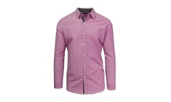 Harvic Men's Long Sleeve Slim-Fit Button-Down Shirt - Promrose & White - M