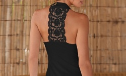 Women's Lace-Back Tank Top - Black - Size: Small
