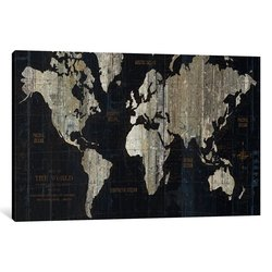 iCanvas Art 26'' H x 40'' W Map of the World Graphic Art on Wrapped Canvas