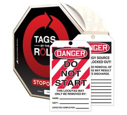 """Accuform""""DANGER DO NOT START"""" By-The-Roll Lockout Tag - Red/Black on White"""