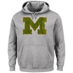 NCAA Men's University of Michigan Laid Out Fleece Hoodie - Steel Heather/L