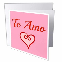 """Te Amo I Love You in Spanish Red Letters 6""""x6"""" Greeting Cards - Set of 12"""