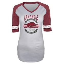 NCAA Arkansas Razorbacks Women's Burnout 3/4 Sleeve T-Shirt -Silver/Red -L