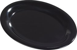 "Carlisle 12""/9"" Durus Melamine Oval Serving Dinner Platter - Black"