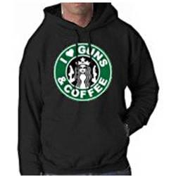 "Men's ""I Love Guns & Coffee"" Hooded Sweatshirt - Black - Size: X-Large"