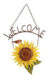 Sunset Vista Birds of a Feather Sunflower Hanging Metal Welcome Sign