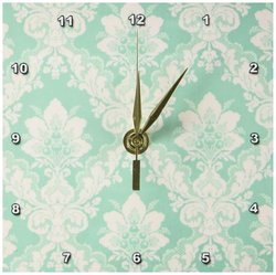 "3dRose 6x6"" Picture of Mint Green Victorian Wallpaper Desk Clock"