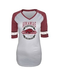 NCAA Women's Arkansas Razorbacks Burnout 3/4Sleeve T-Shirt - White/Red - S