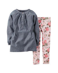 Carter's Girls Blue Chambray Top/Light Pink Rose Pant Set - Size: 2T