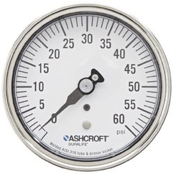"ASHCROFT Duralife Type 1009 Stainless Steel Case Dry Filled Pressure Gauge, Stainless Steel Tube and Bronze Socket, Micrometer pointer, 3.5"" Dial Size, 1/4"" NPT Lower Back Connection, 0/60 psi Pressure Range"