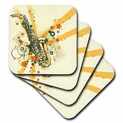 3dRose cst_78489_2 Gold Saxaphone Against A Grunge Background-Soft Coasters, Set of 8