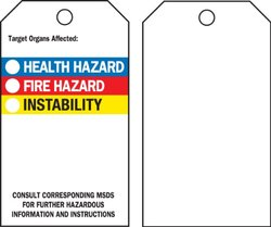 """Brady  76238 5 3/4"""" Height x 3"""" Width, Economy Polyester (B-851), Black, Red, Blue, Yellow on White Right-To-Know Accident Prevention Tags (25 Tags)"""