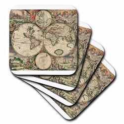 3dRose cst_7425_3 World Map 1689-Ceramic Tile Coasters, Set of 4
