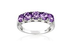 Silver Speck Women's Sterling Silver Amethyst Half Eternity Ring - Size: 9