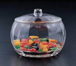 Blow Mold Stripe Candy Jar W/lid (Acrylic)