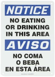 """Accuform Signs SBMGNF803VA Aluminum Spanish Bilingual Sign, Legend """"NOTICE NO EATING OR DRINKING IN THIS AREA/AVISO NO COMA O BEBA EN ESTA AREA"""", 14"""" Length x 10"""" Width x 0.040"""" Thickness, Blue/Black on White"""