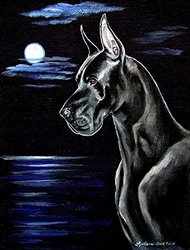 Caroline's Treasures 7060CHF Moonlight Black Great Dane Flag Canvas, Large, Multicolor