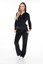 Women's Velour 2 Piece Set Lounge Suit 2828-06/S - Black - Size: Medium