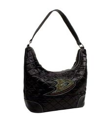 Little Earth NHL Anaheim Ducks Quilted Hobo Bag - Black - Size: One