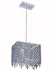 Elegant Lighting 1391D14C-SA/RC Moda 13.5-Inch High 2-Light Chandelier, Chrome Finish with Sapphire (Blue) Royal Cut RC Crystal
