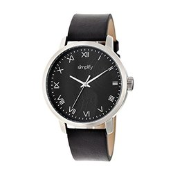 Leather-Band Men's Watch 4200: SIM4202 Black Band/Black Dial