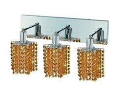 Mini Topaz Crystal Sconce w 3 Lights in Chrome