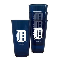 MLB Detroit Tigers 16-Ounce Colored Plastic Pints (4 Pack) 4, and