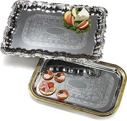 Celebration Carbon Steel Rectangular Tray with Ornate Border - 12 Pack