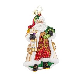 "Christopher Radko Off the Vine Blanc Santa Glass Christmas Ornament - 6"" H"