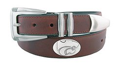 NCAA Kansas State Wildcats Men's Leather Concho Tapered Tip Belt, Brown, 42